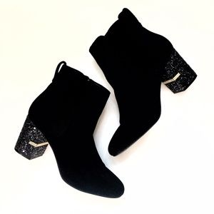 Call It Spring Black Ankle Boot Glitter Heel